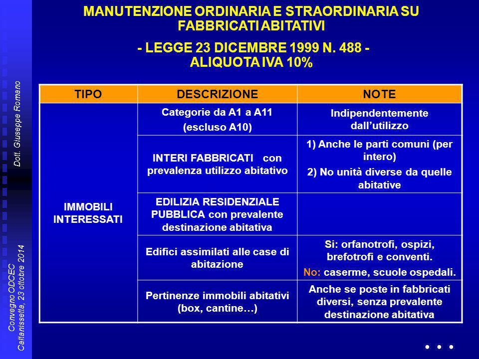 Dott. Giuseppe Romano Convegno ODCEC Caltanissetta, 23 ottobre 2014 TIPODESCRIZIONENOTE IMMOBILI INTERESSATI Categorie da A1 a A11 (escluso A10) Indip