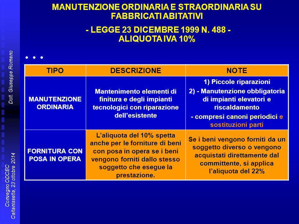Dott. Giuseppe Romano Convegno ODCEC Caltanissetta, 23 ottobre 2014 TIPODESCRIZIONENOTE MANUTENZIONE ORDINARIA Mantenimento elementi di finitura e deg