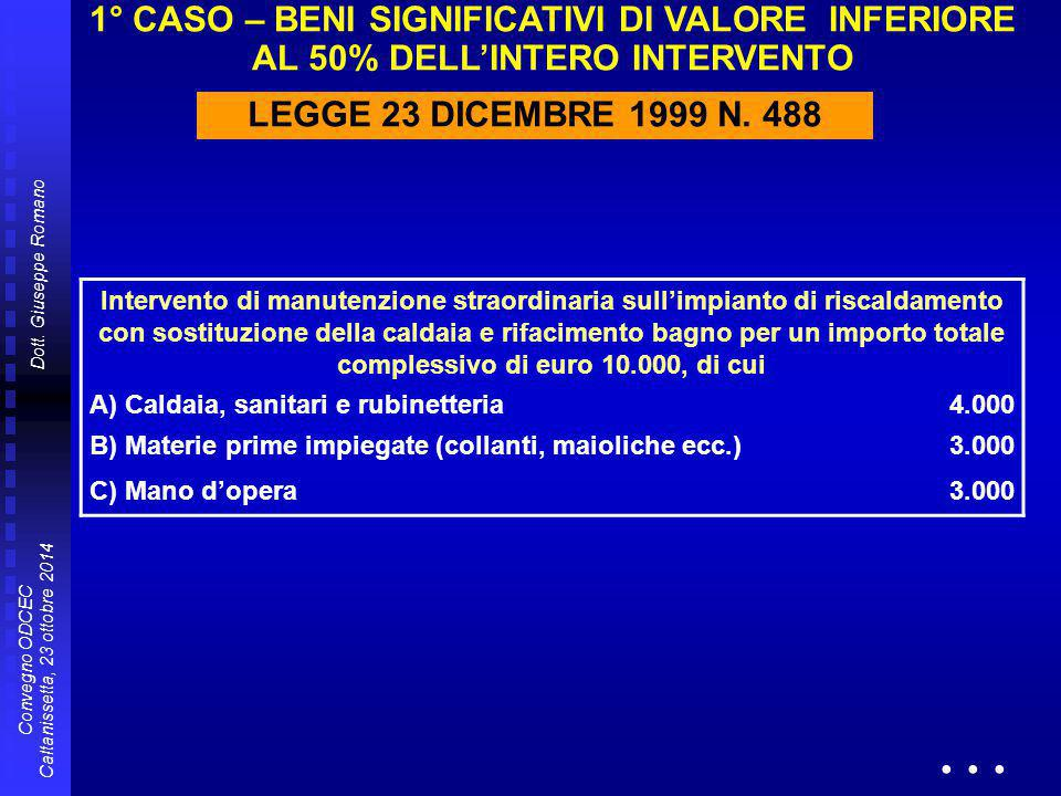 Dott. Giuseppe Romano Convegno ODCEC Caltanissetta, 23 ottobre 2014 1° CASO – BENI SIGNIFICATIVI DI VALORE INFERIORE AL 50% DELL'INTERO INTERVENTO LEG