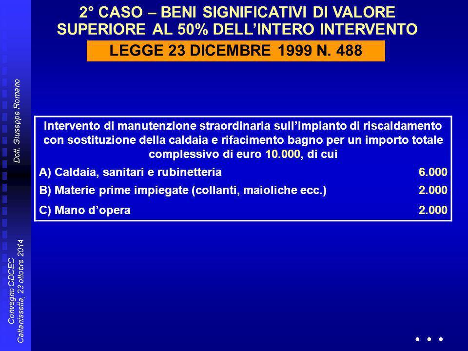 Dott. Giuseppe Romano Convegno ODCEC Caltanissetta, 23 ottobre 2014 Intervento di manutenzione straordinaria sull'impianto di riscaldamento con sostit