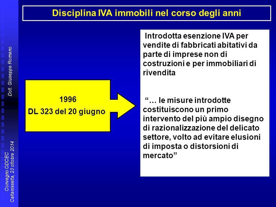 Dott. Giuseppe Romano Convegno ODCEC Caltanissetta, 23 ottobre 2014 Disciplina IVA immobili nel corso degli anni 1996 DL 323 del 20 giugno Introdotta