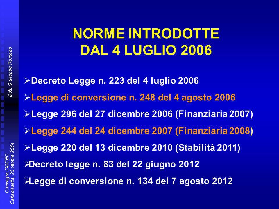 Dott. Giuseppe Romano Convegno ODCEC Caltanissetta, 23 ottobre 2014 NORME INTRODOTTE DAL 4 LUGLIO 2006  Decreto Legge n. 223 del 4 luglio 2006  Legg