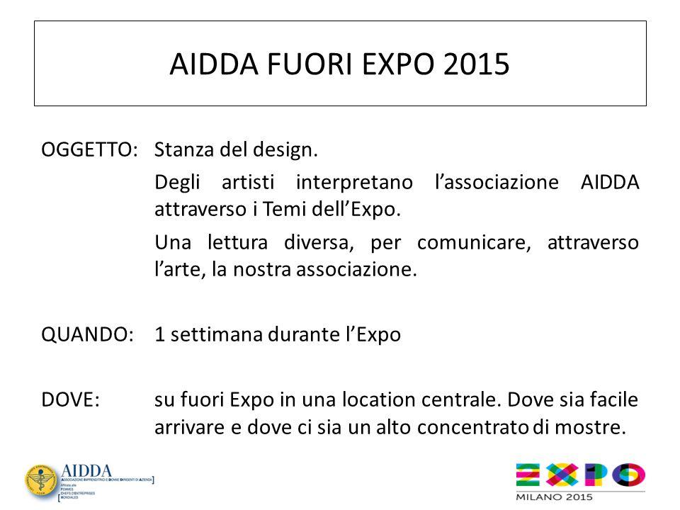 AIDDA FUORI EXPO 2015 PERCHE':-per far conoscere la nostra associazione; -per far capire che siamo imprenditrici presenti in questo grande evento; -perché questo è l'unico modo che possa suscitare interesse, attraverso l'arte, per visitarlo dopo aver visitato un Expo dove c'è tutto e di più.
