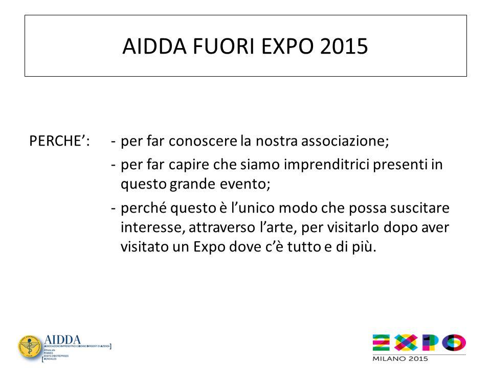 AIDDA FUORI EXPO 2015 PERCHE':-per far conoscere la nostra associazione; -per far capire che siamo imprenditrici presenti in questo grande evento; -pe
