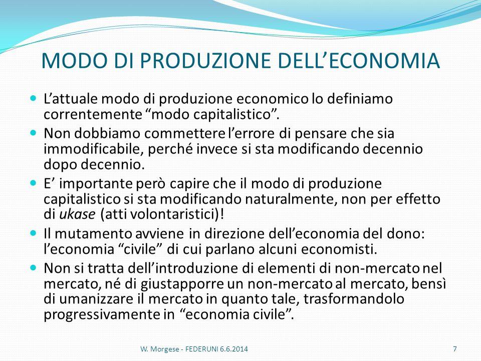 MODO DI PRODUZIONE DELL'ECONOMIA L'attuale modo di produzione economico lo definiamo correntemente modo capitalistico .
