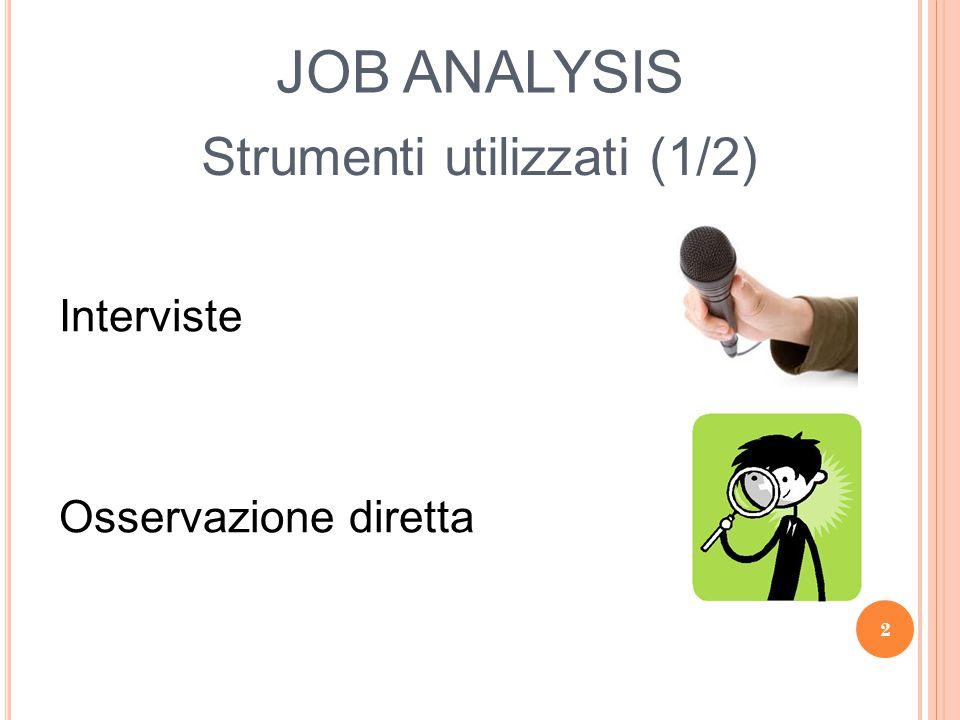 JOB ANALYSIS Job Inventory Esame di profili professionali, mansionari, manuali delle procedure Strumenti utilizzati (2/2) 3