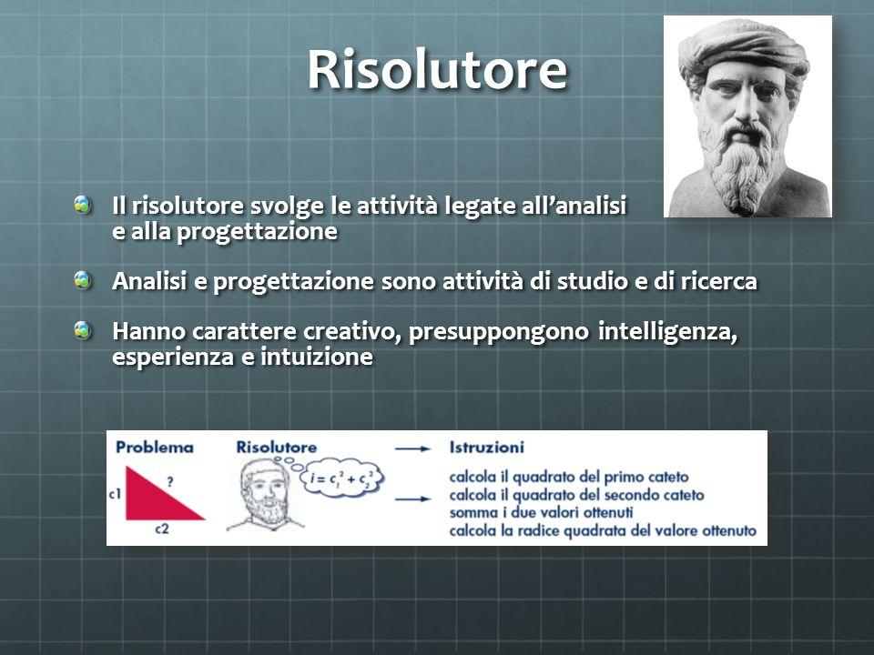 Risolutore Il risolutore svolge le attività legate all'analisi e alla progettazione Analisi e progettazione sono attività di studio e di ricerca Hanno