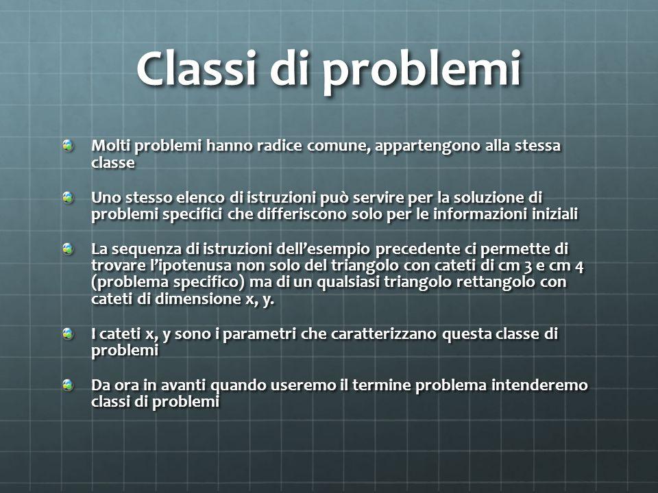 Classi di problemi Molti problemi hanno radice comune, appartengono alla stessa classe Uno stesso elenco di istruzioni può servire per la soluzione di problemi specifici che differiscono solo per le informazioni iniziali La sequenza di istruzioni dell'esempio precedente ci permette di trovare l'ipotenusa non solo del triangolo con cateti di cm 3 e cm 4 (problema specifico) ma di un qualsiasi triangolo rettangolo con cateti di dimensione x, y.