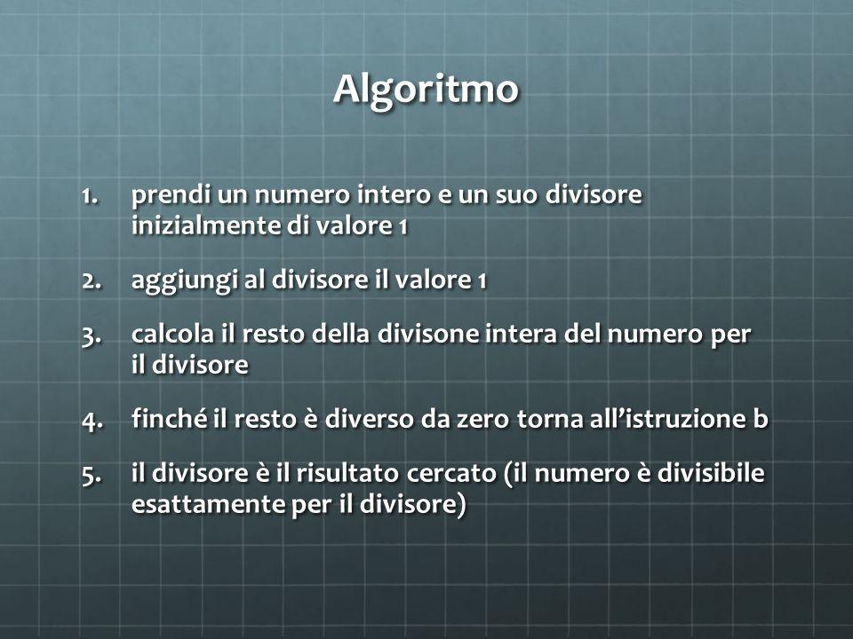 Algoritmo 1.prendi un numero intero e un suo divisore inizialmente di valore 1 2.aggiungi al divisore il valore 1 3.calcola il resto della divisone intera del numero per il divisore 4.finché il resto è diverso da zero torna all'istruzione b 5.il divisore è il risultato cercato (il numero è divisibile esattamente per il divisore)