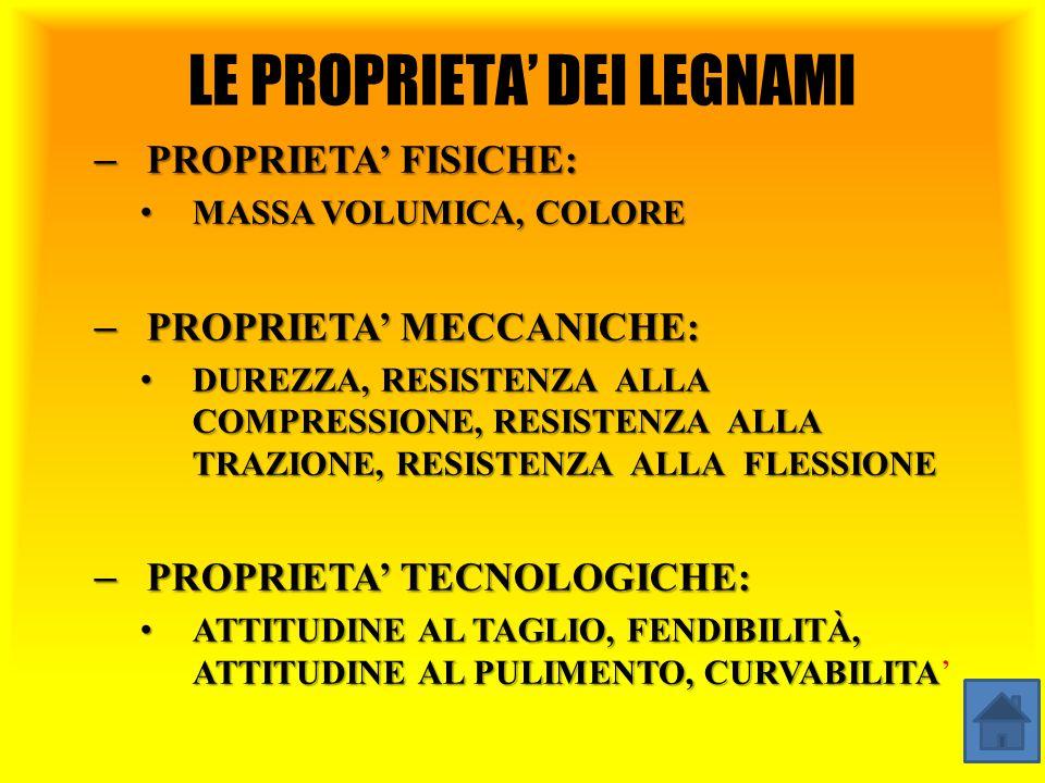 LE PROPRIETA' DEI LEGNAMI – PROPRIETA' FISICHE: MASSA VOLUMICA, COLORE MASSA VOLUMICA, COLORE – PROPRIETA' MECCANICHE: DUREZZA, RESISTENZA ALLA COMPRESSIONE, RESISTENZA ALLA TRAZIONE, RESISTENZA ALLA FLESSIONE DUREZZA, RESISTENZA ALLA COMPRESSIONE, RESISTENZA ALLA TRAZIONE, RESISTENZA ALLA FLESSIONE – PROPRIETA' TECNOLOGICHE: ATTITUDINE AL TAGLIO, FENDIBILITÀ, ATTITUDINE AL PULIMENTO, CURVABILITA ATTITUDINE AL TAGLIO, FENDIBILITÀ, ATTITUDINE AL PULIMENTO, CURVABILITA'