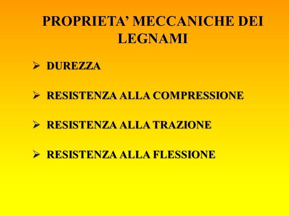 PROPRIETA' MECCANICHE DEI LEGNAMI  DUREZZA  RESISTENZA ALLA COMPRESSIONE  RESISTENZA ALLA TRAZIONE  RESISTENZA ALLA FLESSIONE