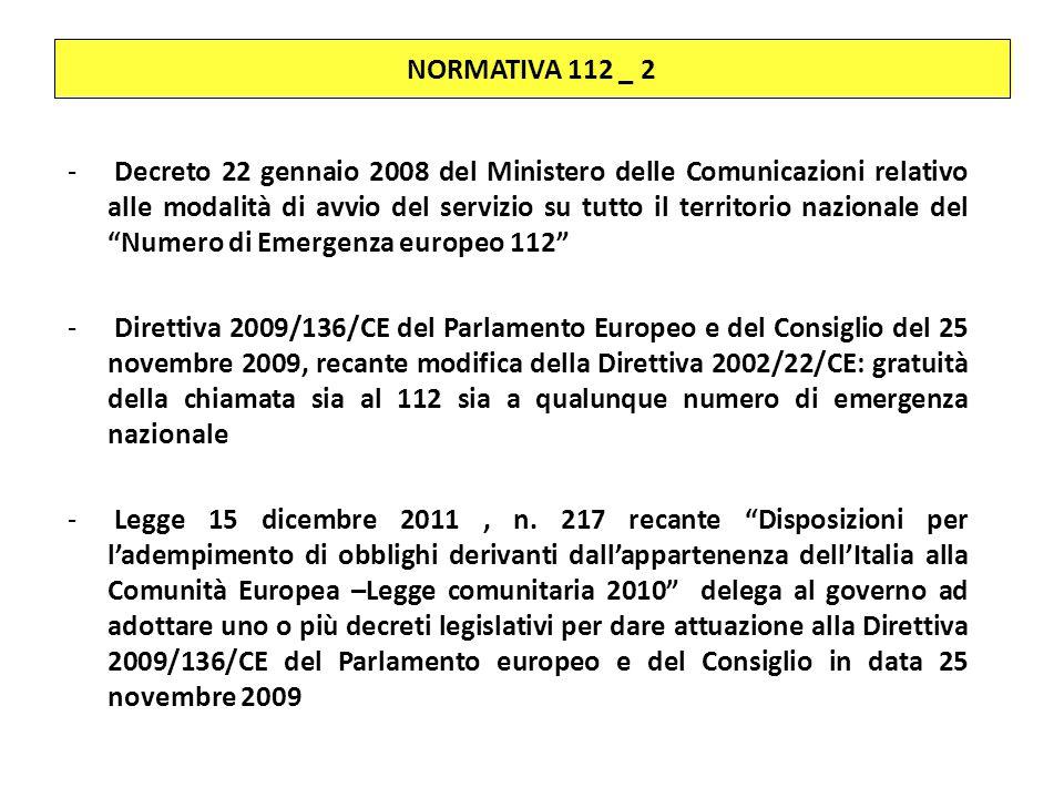 NORMATIVA 112 _ 2 - Decreto 22 gennaio 2008 del Ministero delle Comunicazioni relativo alle modalità di avvio del servizio su tutto il territorio nazi