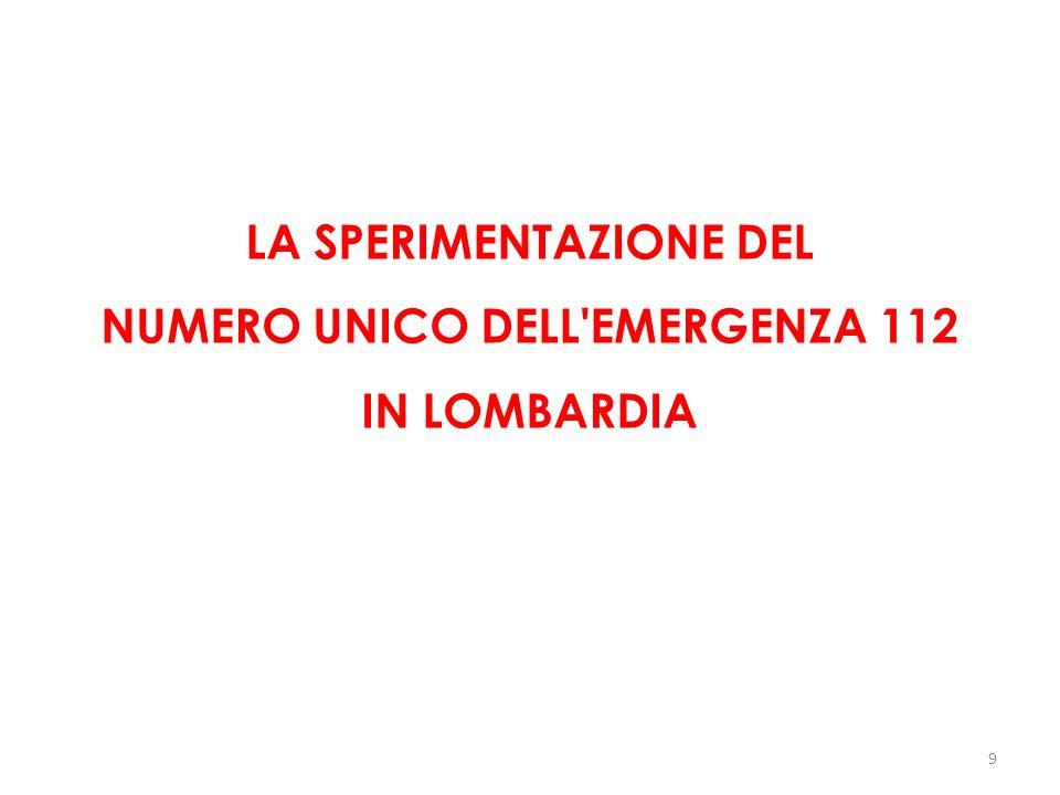 LA SPERIMENTAZIONE DEL NUMERO UNICO DELL'EMERGENZA 112 IN LOMBARDIA 9