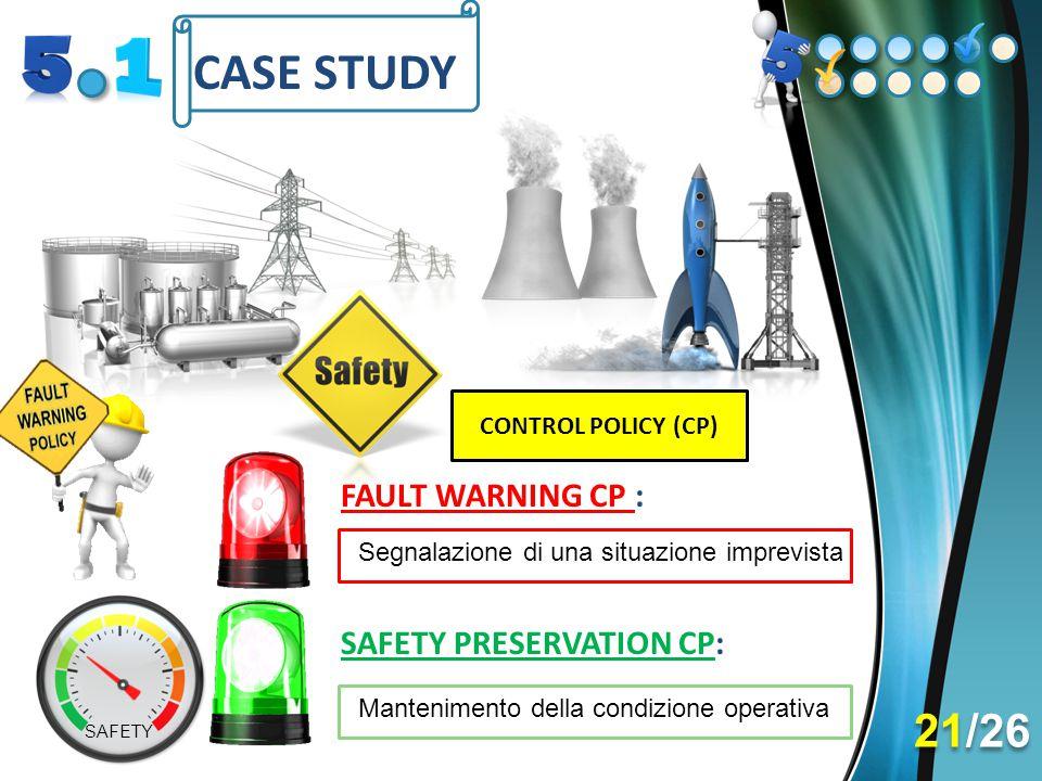 CASE STUDY FAULT WARNING CP : Segnalazione di una situazione imprevista SAFETY PRESERVATION CP: CONTROL POLICY (CP) Mantenimento della condizione oper