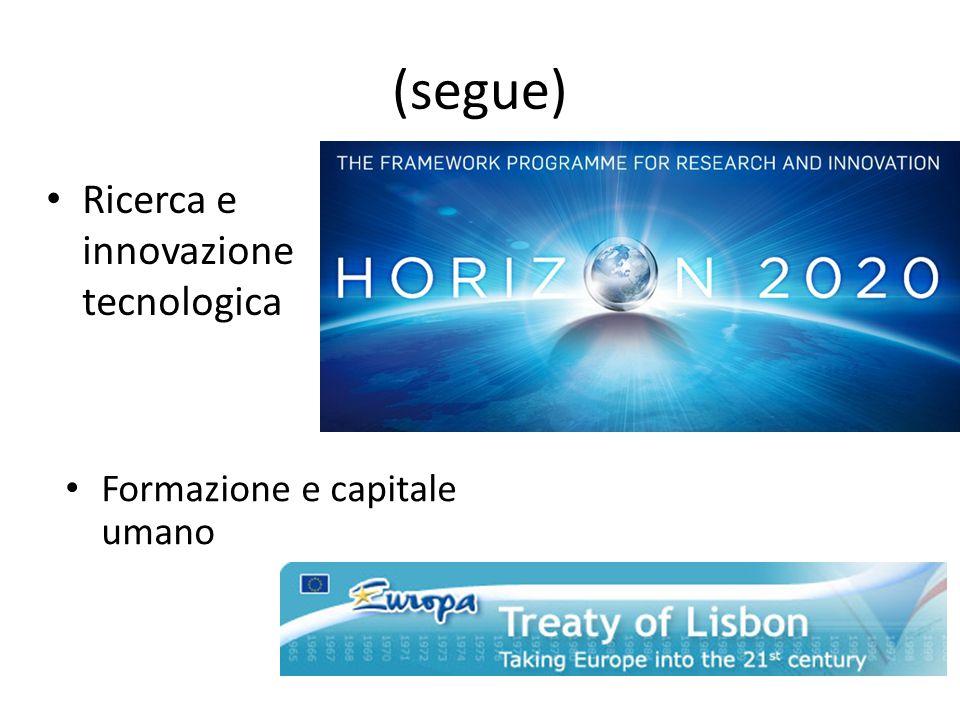 (segue) Ricerca e innovazione tecnologica Formazione e capitale umano