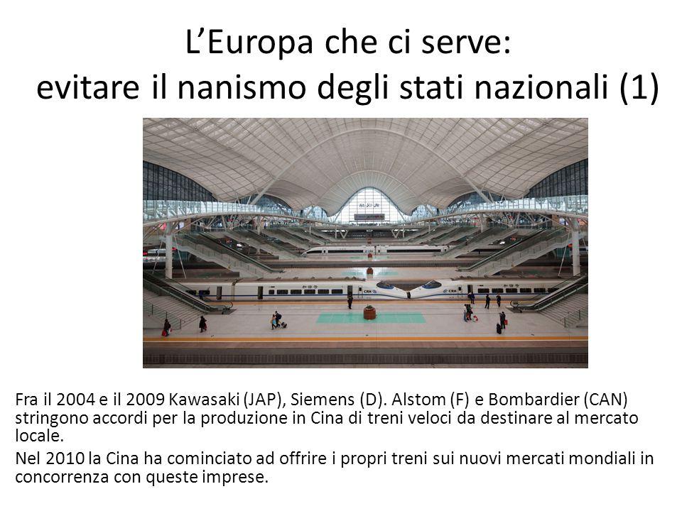 L'Europa che ci serve: evitare il nanismo degli stati nazionali (1) Fra il 2004 e il 2009 Kawasaki (JAP), Siemens (D). Alstom (F) e Bombardier (CAN) s