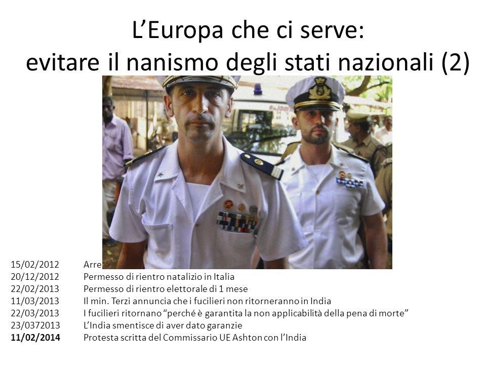 L'Europa che ci serve: evitare il nanismo degli stati nazionali (2) 15/02/2012 Arresto di Girone e La Torre 20/12/2012 Permesso di rientro natalizio i