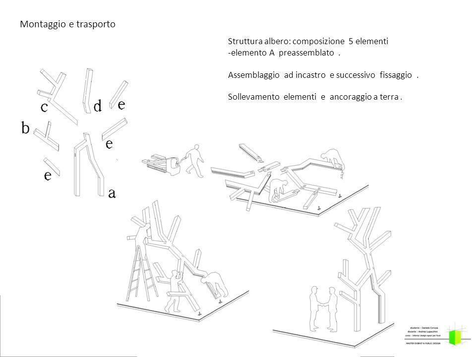 Struttura albero: composizione 5 elementi -elemento A preassemblato. Assemblaggio ad incastro e successivo fissaggio. Sollevamento elementi e ancoragg