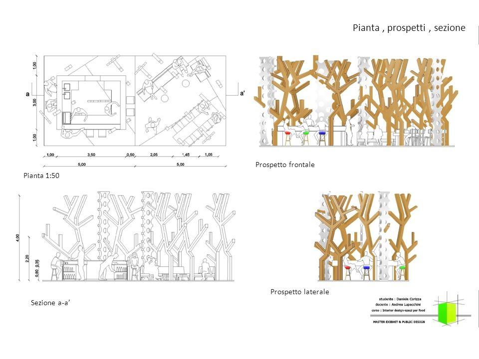 Pianta, prospetti, sezione Prospetto frontale Prospetto laterale Pianta 1:50 Sezione a-a'