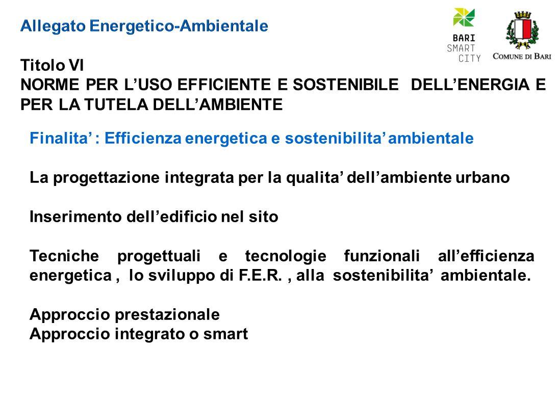 Finalita' : Efficienza energetica e sostenibilita' ambientale La progettazione integrata per la qualita' dell'ambiente urbano Inserimento dell'edificio nel sito Tecniche progettuali e tecnologie funzionali all'efficienza energetica, lo sviluppo di F.E.R., alla sostenibilita' ambientale.