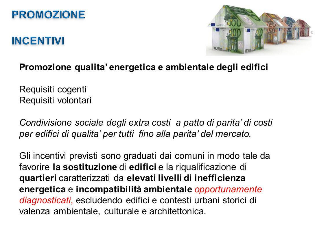 Promozione qualita' energetica e ambientale degli edifici Requisiti cogenti Requisiti volontari Condivisione sociale degli extra costi a patto di parita' di costi per edifici di qualita' per tutti fino alla parita' del mercato.
