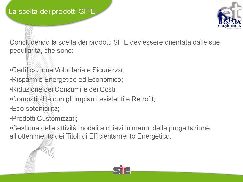 La scelta dei prodotti SITE Concludendo la scelta dei prodotti SITE dev'essere orientata dalle sue peculiarità, che sono: Certificazione Volontaria e