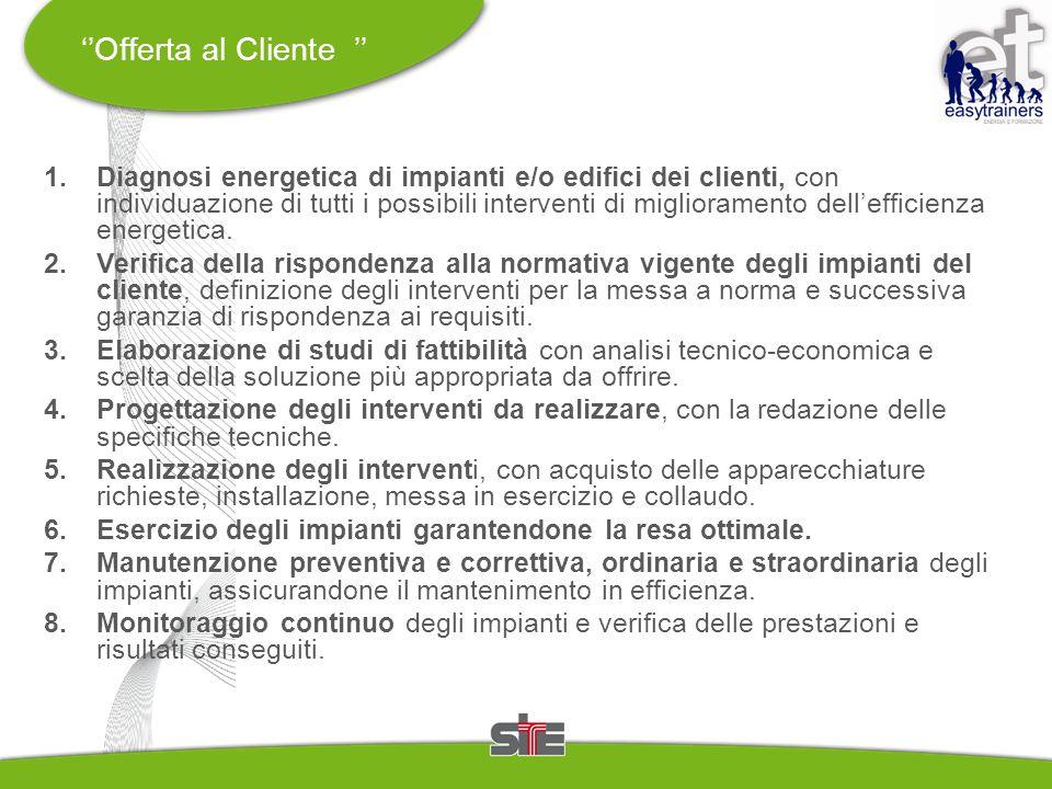 ''Offerta al Cliente '' 1. Diagnosi energetica di impianti e/o edifici dei clienti, con individuazione di tutti i possibili interventi di migliorament