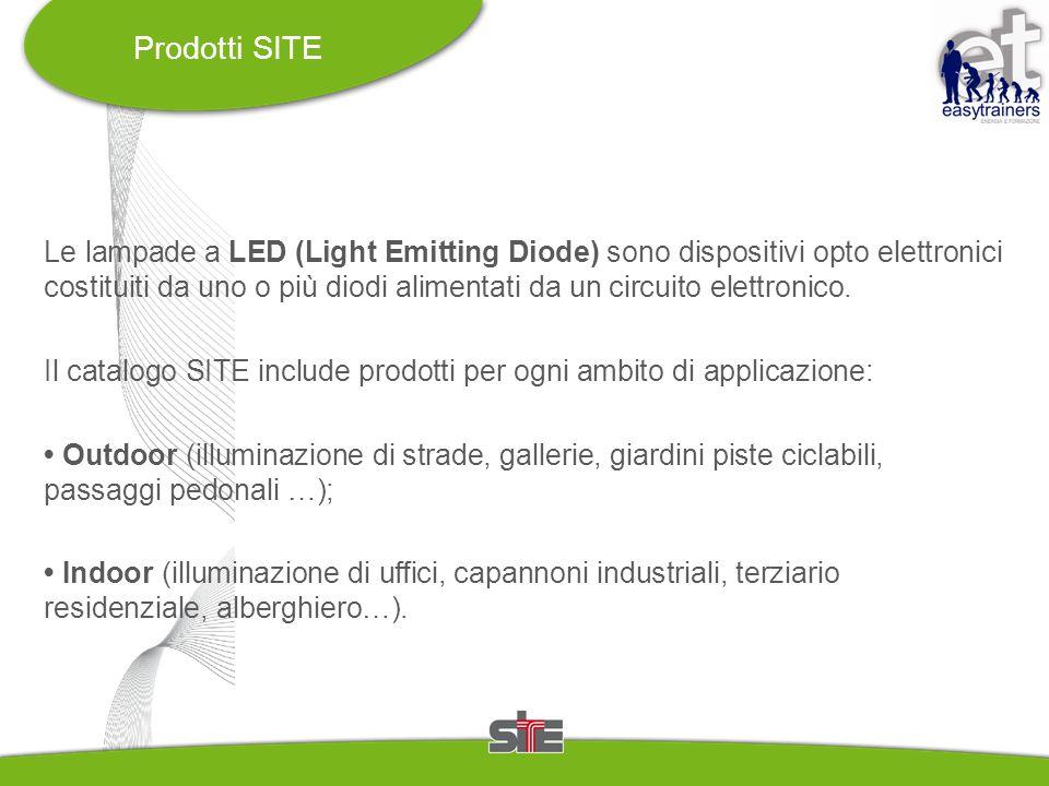 Prodotti SITE Le lampade a LED (Light Emitting Diode) sono dispositivi opto elettronici costituiti da uno o più diodi alimentati da un circuito elettr