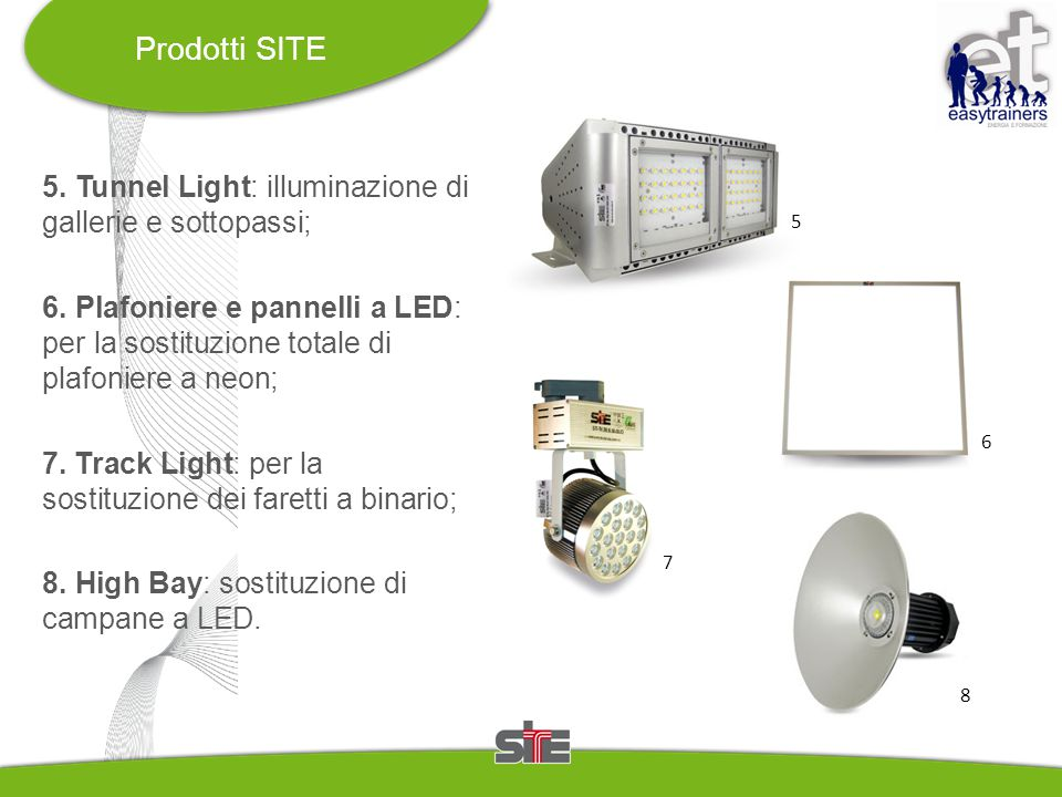 5. Tunnel Light: illuminazione di gallerie e sottopassi; 6. Plafoniere e pannelli a LED: per la sostituzione totale di plafoniere a neon; 7. Track Lig