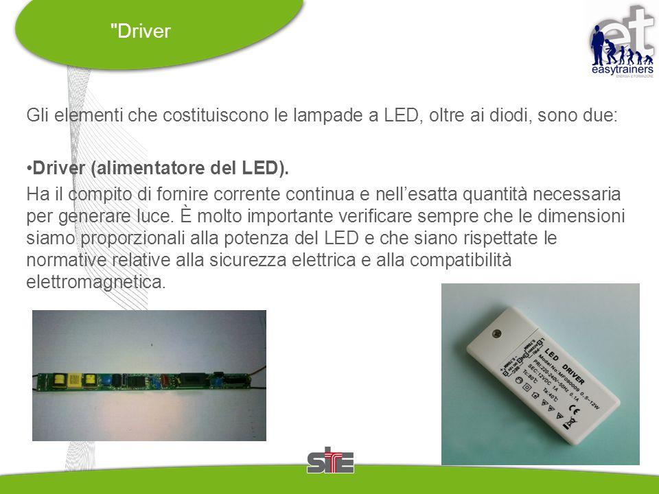 Driver Gli elementi che costituiscono le lampade a LED, oltre ai diodi, sono due: Driver (alimentatore del LED).