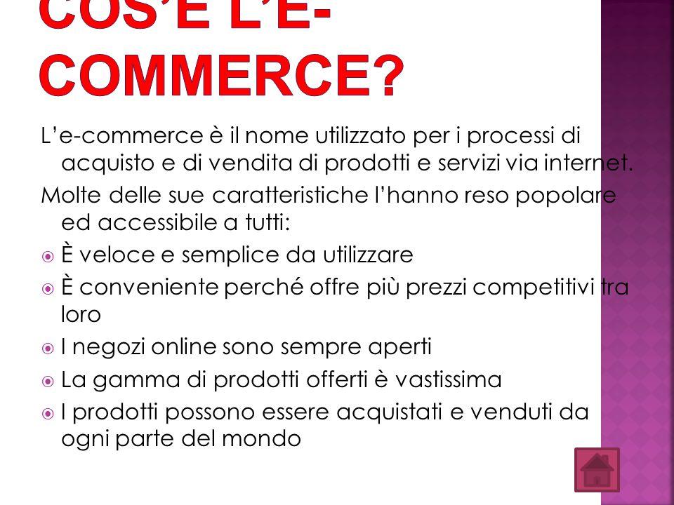 L'e-commerce è il nome utilizzato per i processi di acquisto e di vendita di prodotti e servizi via internet. Molte delle sue caratteristiche l'hanno