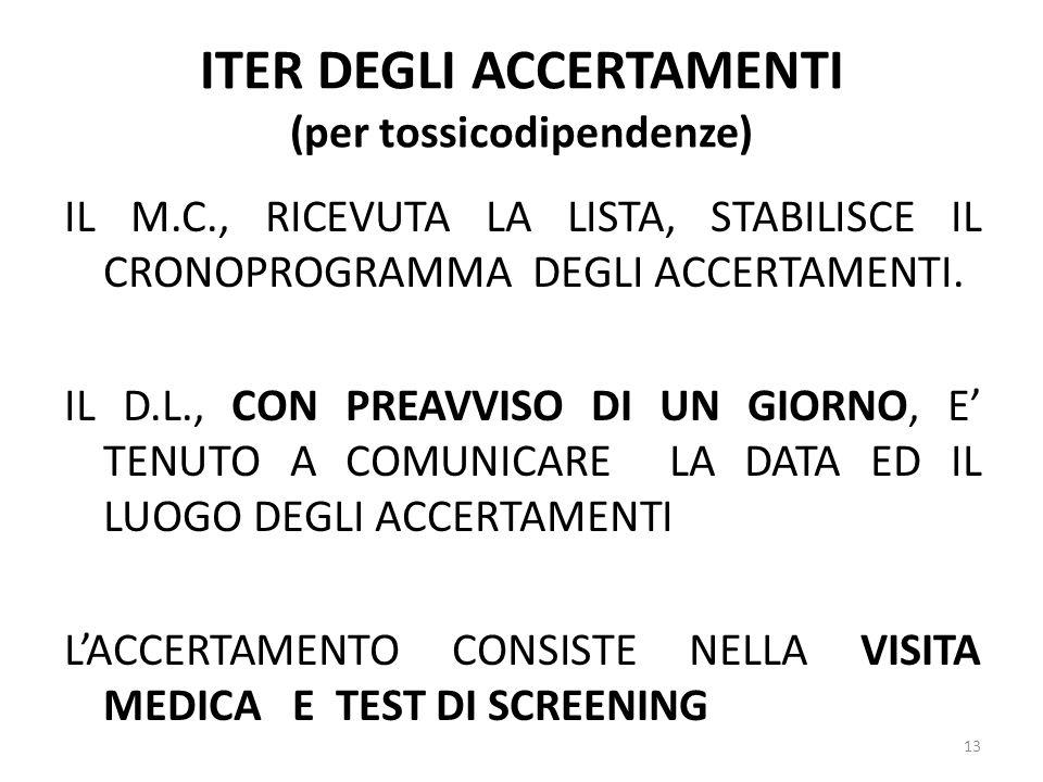 ITER DEGLI ACCERTAMENTI (per tossicodipendenze) IL M.C., RICEVUTA LA LISTA, STABILISCE IL CRONOPROGRAMMA DEGLI ACCERTAMENTI. IL D.L., CON PREAVVISO DI