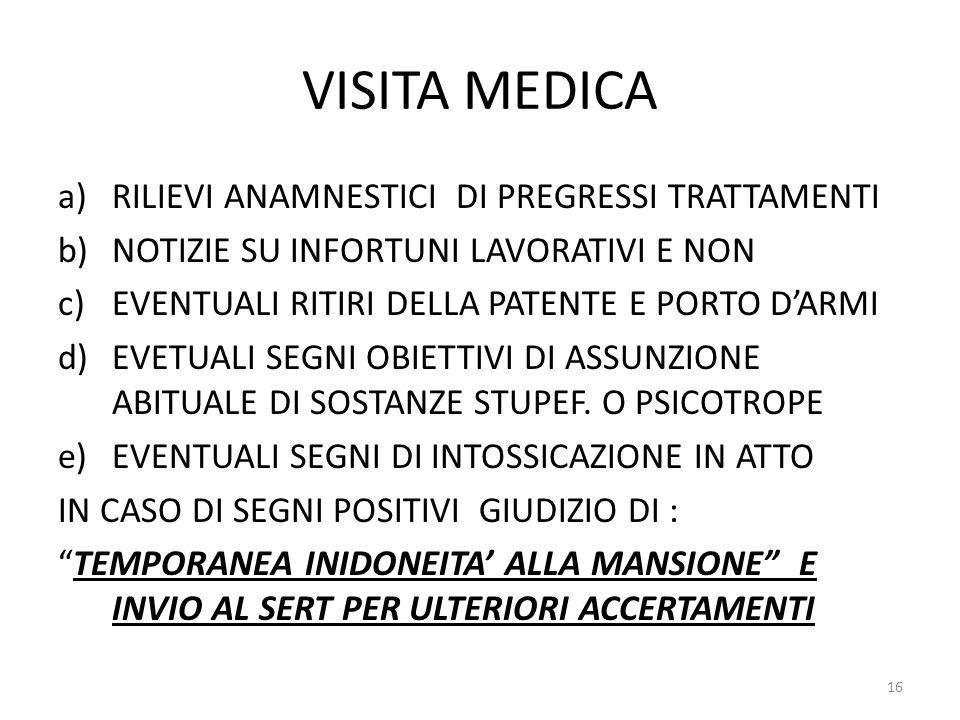 VISITA MEDICA a)RILIEVI ANAMNESTICI DI PREGRESSI TRATTAMENTI b)NOTIZIE SU INFORTUNI LAVORATIVI E NON c)EVENTUALI RITIRI DELLA PATENTE E PORTO D'ARMI d