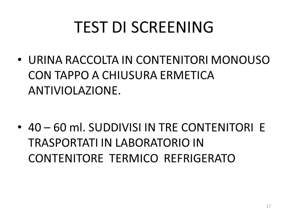 TEST DI SCREENING URINA RACCOLTA IN CONTENITORI MONOUSO CON TAPPO A CHIUSURA ERMETICA ANTIVIOLAZIONE. 40 – 60 ml. SUDDIVISI IN TRE CONTENITORI E TRASP