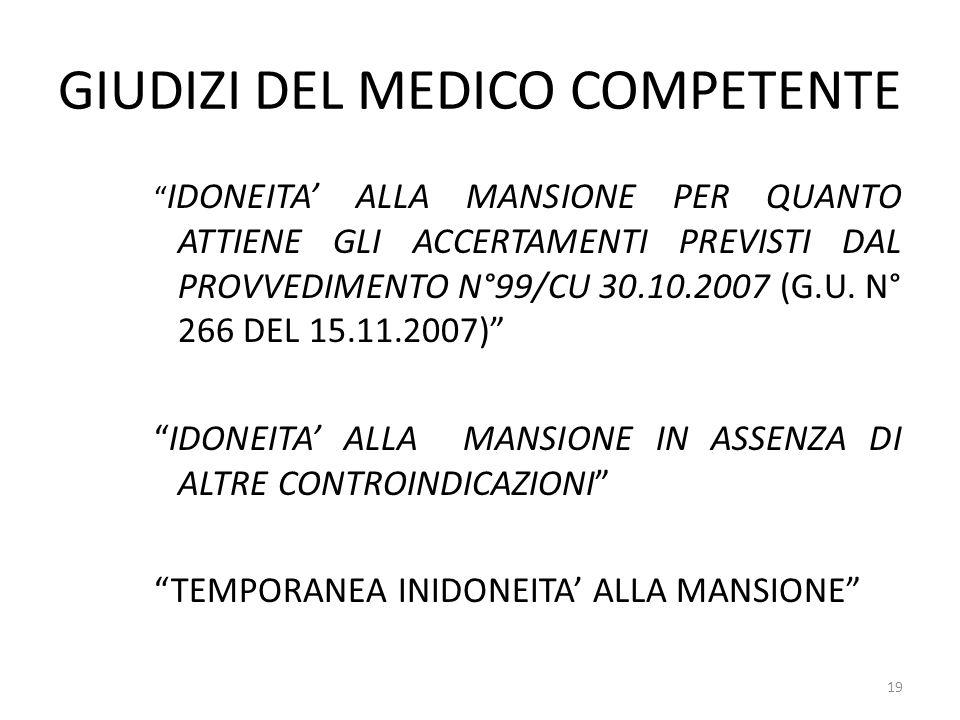 """GIUDIZI DEL MEDICO COMPETENTE """" IDONEITA' ALLA MANSIONE PER QUANTO ATTIENE GLI ACCERTAMENTI PREVISTI DAL PROVVEDIMENTO N°99/CU 30.10.2007 (G.U. N° 266"""