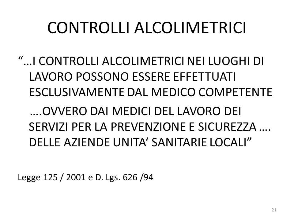 """CONTROLLI ALCOLIMETRICI """"…I CONTROLLI ALCOLIMETRICI NEI LUOGHI DI LAVORO POSSONO ESSERE EFFETTUATI ESCLUSIVAMENTE DAL MEDICO COMPETENTE ….OVVERO DAI M"""