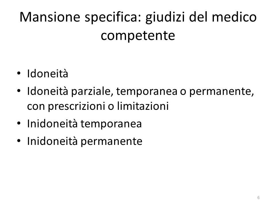 Mansione specifica: giudizi del medico competente Idoneità Idoneità parziale, temporanea o permanente, con prescrizioni o limitazioni Inidoneità tempo