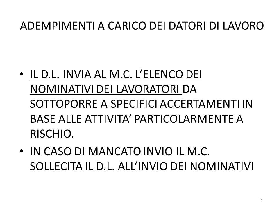 ADEMPIMENTI A CARICO DEI DATORI DI LAVORO IL D.L. INVIA AL M.C. L'ELENCO DEI NOMINATIVI DEI LAVORATORI DA SOTTOPORRE A SPECIFICI ACCERTAMENTI IN BASE
