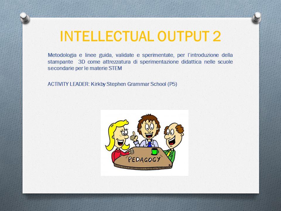 INTELLECTUAL OUTPUT 2 Metodologia e linee guida, validate e sperimentate, per l'introduzione della stampante 3D come attrezzatura di sperimentazione didattica nelle scuole secondarie per le materie STEM ACTIVITY LEADER: Kirkby Stephen Grammar School (P5)
