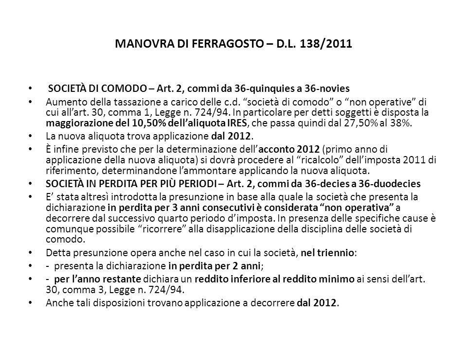 MANOVRA DI FERRAGOSTO – D.L. 138/2011 SOCIETÀ DI COMODO – Art.