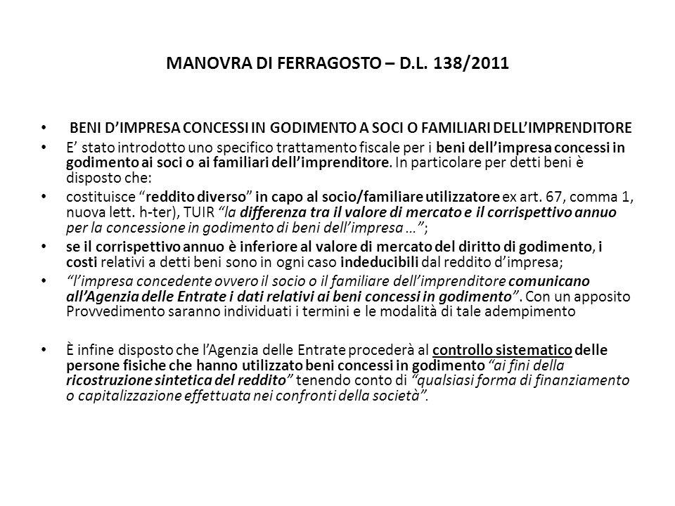 MANOVRA DI FERRAGOSTO – D.L.