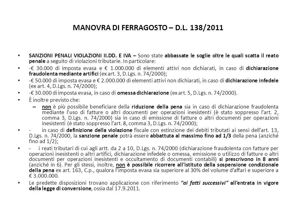 MANOVRA DI FERRAGOSTO – D.L. 138/2011 SANZIONI PENALI VIOLAZIONI II.DD.