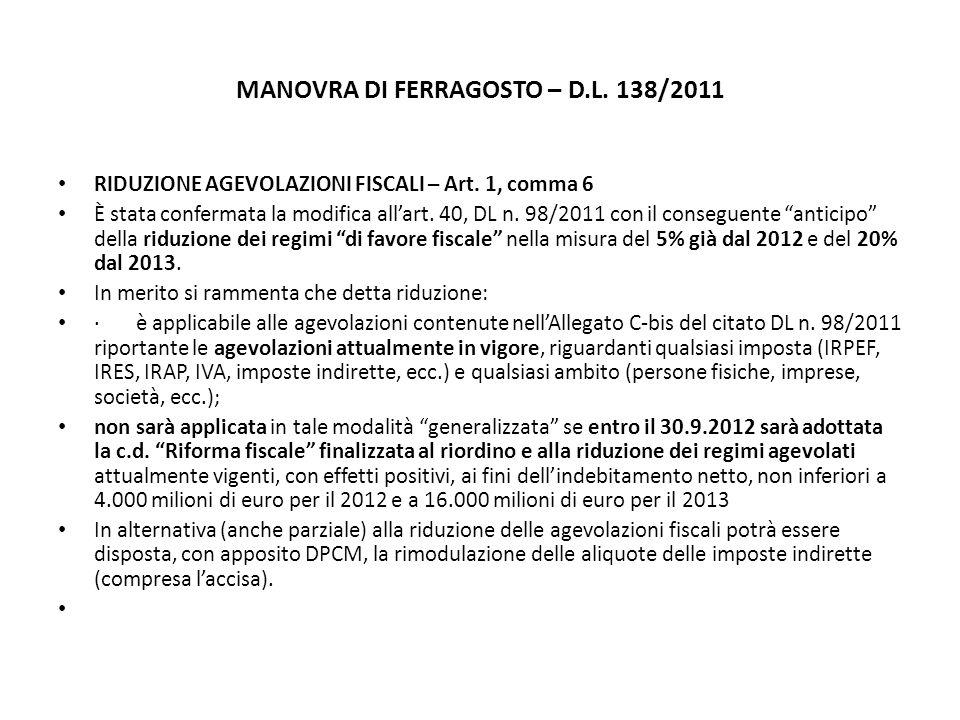 MANOVRA DI FERRAGOSTO – D.L. 138/2011 RIDUZIONE AGEVOLAZIONI FISCALI – Art.