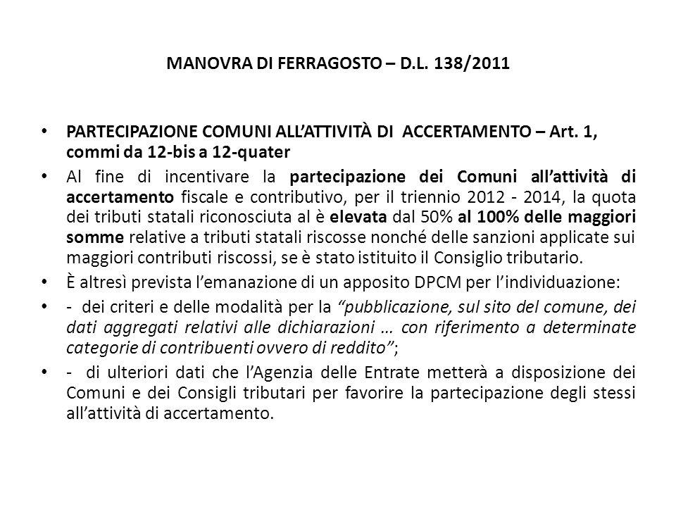 MANOVRA DI FERRAGOSTO – D.L. 138/2011 PARTECIPAZIONE COMUNI ALL'ATTIVITÀ DI ACCERTAMENTO – Art.