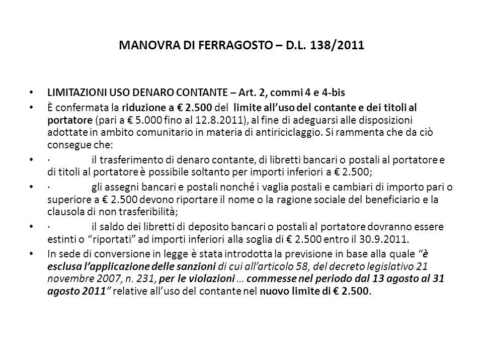 MANOVRA DI FERRAGOSTO – D.L. 138/2011 LIMITAZIONI USO DENARO CONTANTE – Art.