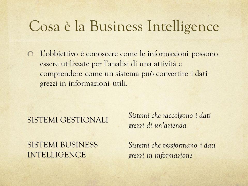 Cosa è la Business Intelligence L'obbiettivo è conoscere come le informazioni possono essere utilizzate per l'analisi di una attività e comprendere co