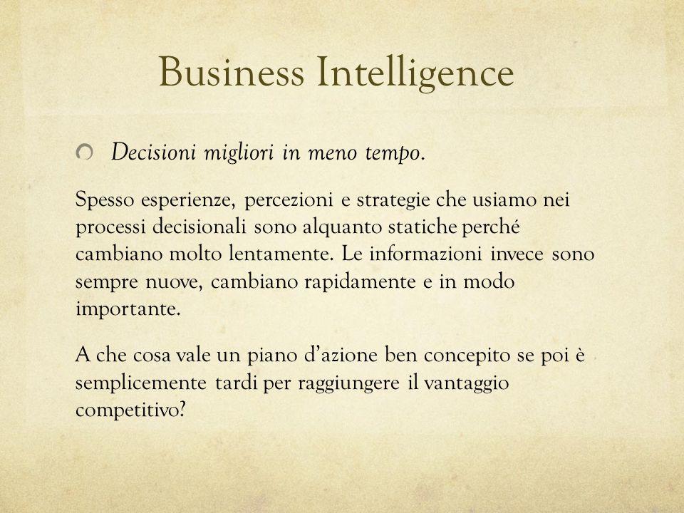 Business Intelligence Decisioni migliori in meno tempo. Spesso esperienze, percezioni e strategie che usiamo nei processi decisionali sono alquanto st