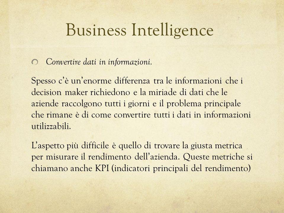 Business Intelligence Convertire dati in informazioni. Spesso c'è un'enorme differenza tra le informazioni che i decision maker richiedono e la miriad