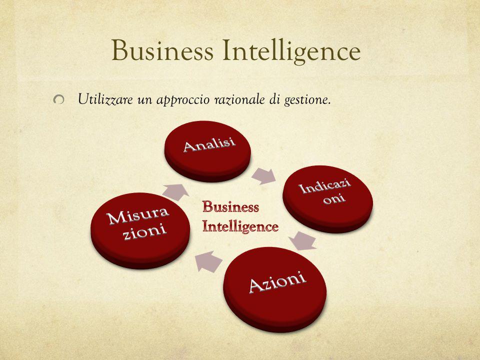 Business Intelligence Utilizzare un approccio razionale di gestione.