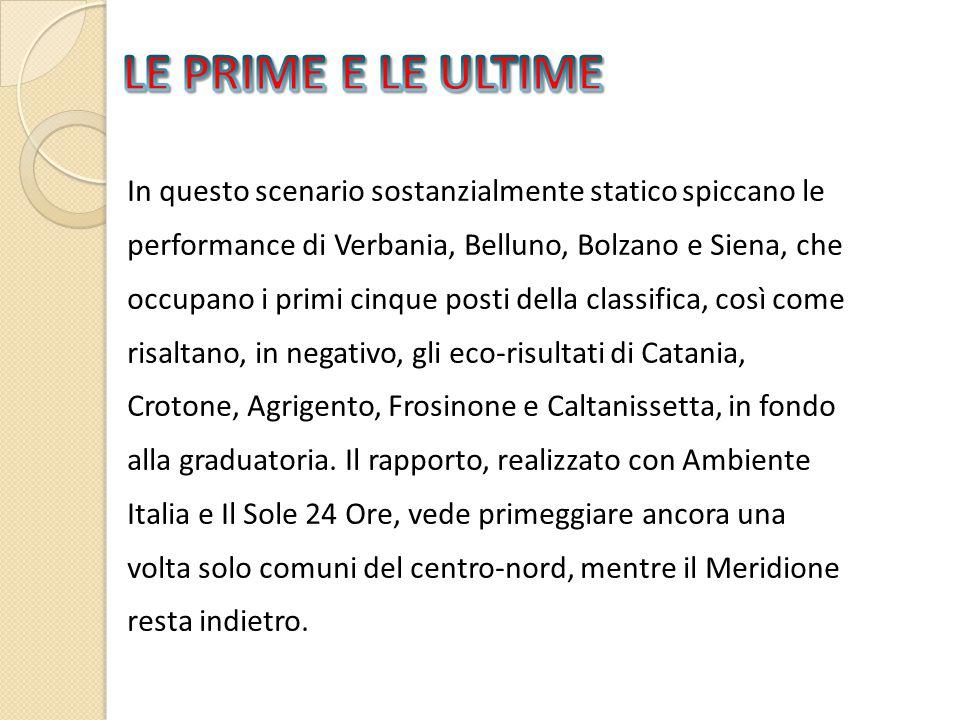 In questo scenario sostanzialmente statico spiccano le performance di Verbania, Belluno, Bolzano e Siena, che occupano i primi cinque posti della classifica, così come risaltano, in negativo, gli eco-risultati di Catania, Crotone, Agrigento, Frosinone e Caltanissetta, in fondo alla graduatoria.